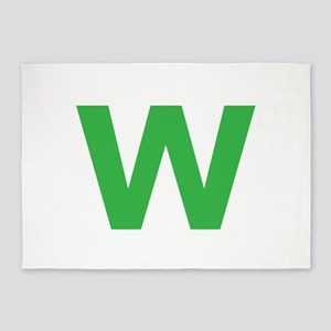 Letter W Green 5'x7'Area Rug