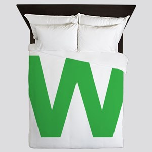 Letter W Green Queen Duvet