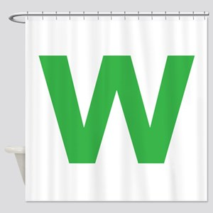 Letter W Green Shower Curtain