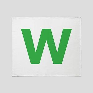 Letter W Green Throw Blanket