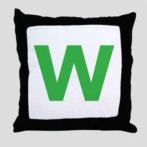 Letter W Green Throw Pillow