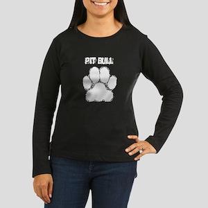 Pit Bull Distressed Paw Print Long Sleeve T-Shirt