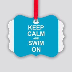 Keep Calm and Swim on Picture Ornament