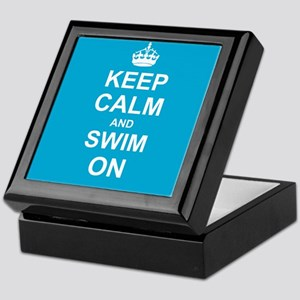 Keep Calm and Swim on Keepsake Box