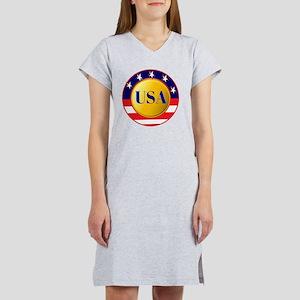 USA - Red White Blue Round Fram Women's Nightshirt