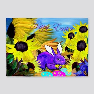 Easter Bunny and Sunflowers 5'x7'Area Rug