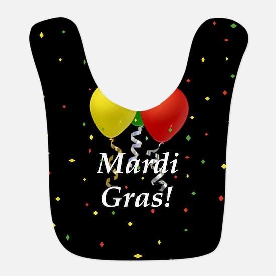 Mardi Gras balloons_black 2 button Bib