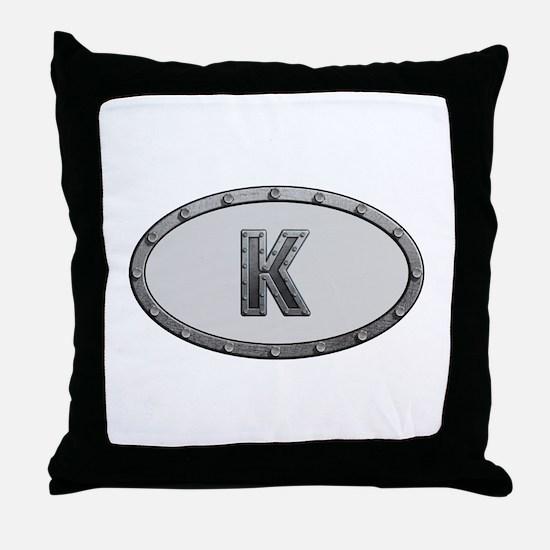 K Metal Oval Throw Pillow