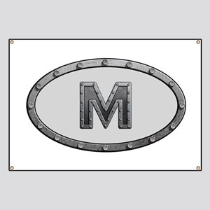 M Metal Oval Banner
