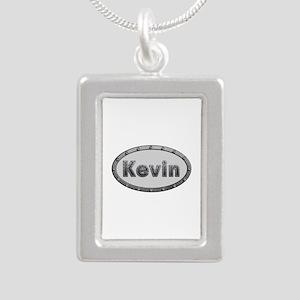 Kevin Metal Oval Silver Portrait Necklace