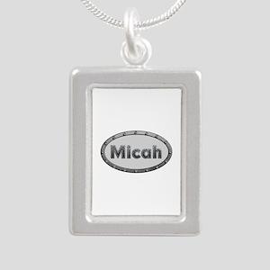 Micah Metal Oval Silver Portrait Necklace