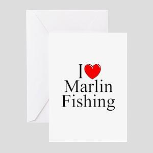 """I Love (Heart) Marlin Fishing"" Greeting Cards (Pk"