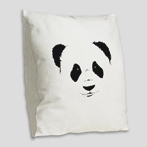 panda face Burlap Throw Pillow