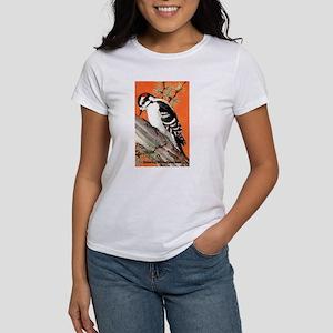 Downy Woodpecker Bird (Front) Women's T-Shirt