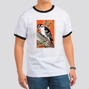 Downy Woodpecker Bird (Front) Ringer T