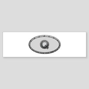 Q Metal Oval Bumper Sticker