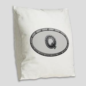 Q Metal Oval Burlap Throw Pillow