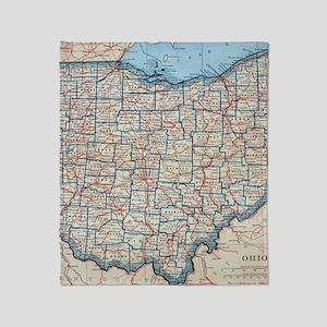 Vintage Map of Ohio (1921) Throw Blanket