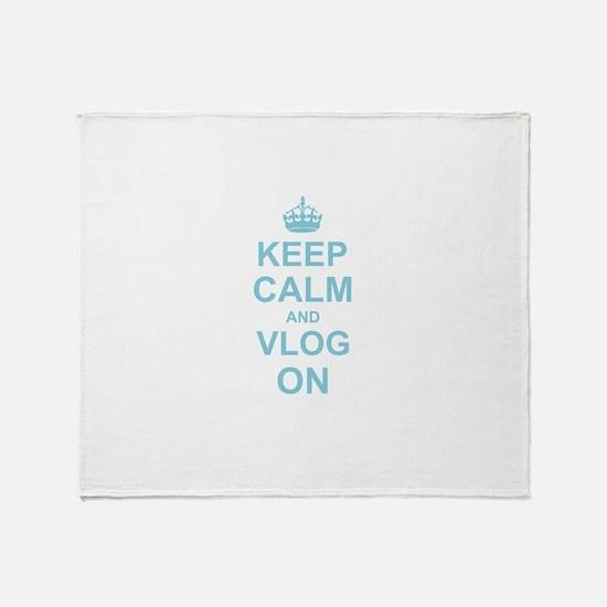 Keep Calm and Vlog on Throw Blanket