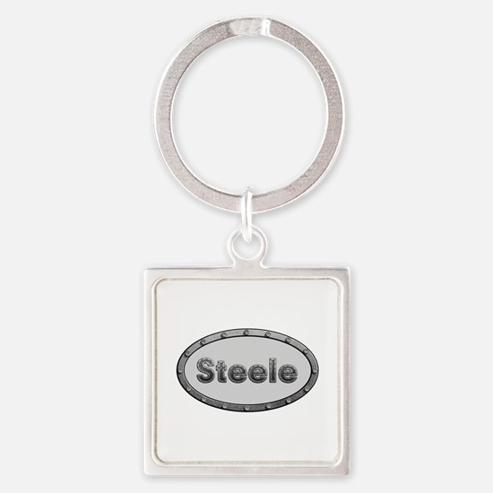 Steele Metal Oval Square Keychain