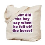 What did the boy say as he fell off the horse? Bag