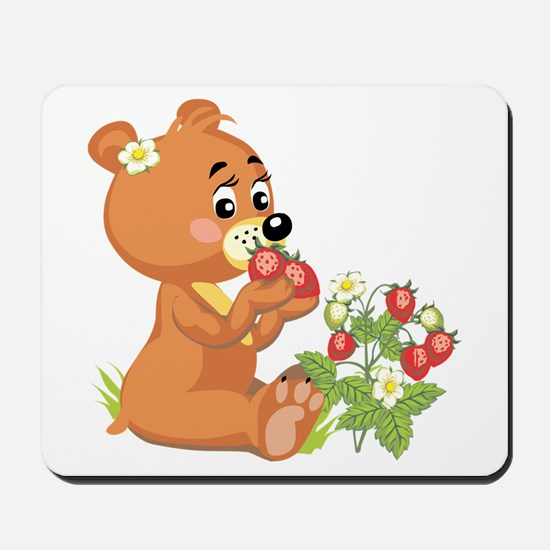 Teddy Bear Eating Strawberries Mousepad