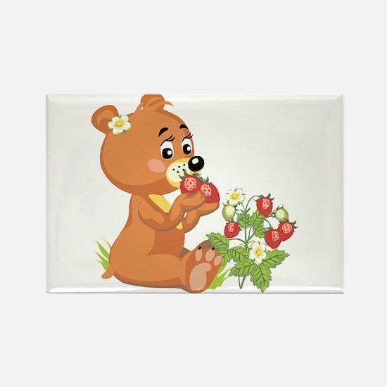 Teddy Bear Eating Strawberries Rectangle Magnet