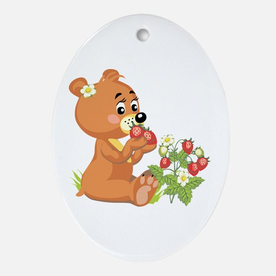 Teddy Bear Eating Strawberries Oval Ornament