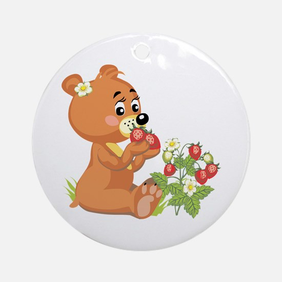 Teddy Bear Eating Strawberries Ornament (Round)