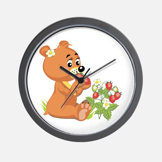 Teddy Bear Eating Strawberries Wall Clock