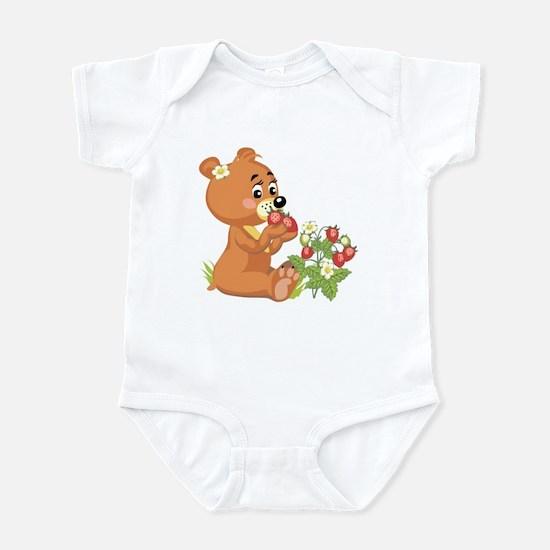 Teddy Bear Eating Strawberries Infant Bodysuit