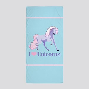 I Heart Unicorns Beach Towel