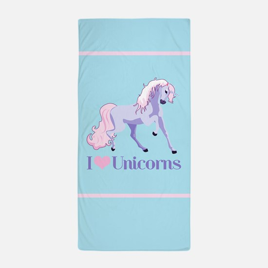 I Heart Unicorns Beach Towel