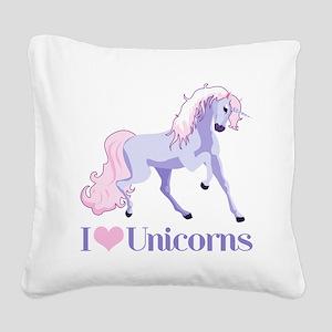 I Heart Unicorns Square Canvas Pillow