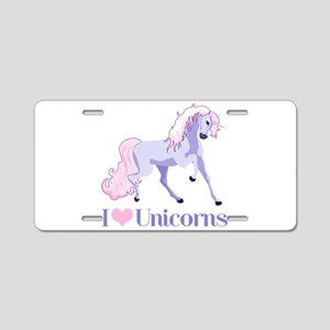 I Heart Unicorns Aluminum License Plate