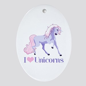 I Heart Unicorns Ornament (Oval)