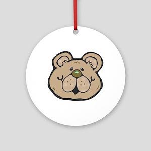 Cute Tan Teddy Bear Face Ornament (Round)