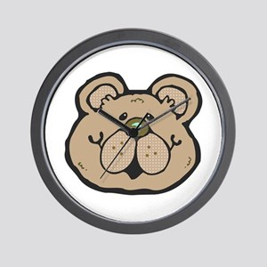 Cute Tan Teddy Bear Face Wall Clock
