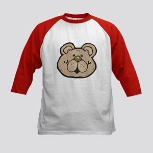 Cute Tan Teddy Bear Face Kids Baseball Jersey
