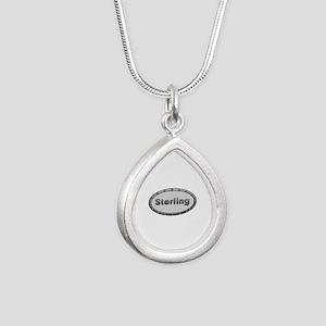 Sterling Metal Oval Silver Teardrop Necklace
