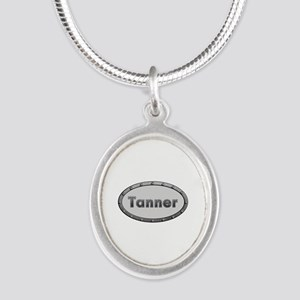 Tanner Metal Oval Silver Oval Necklace