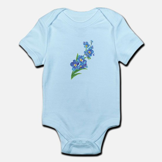 Forget Me Not Flower Watercolor Painting Body Suit