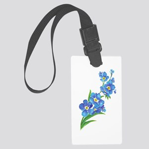 Forget Me Not Flower Watercolor Large Luggage Tag