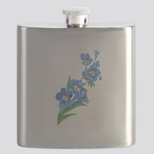 Forget Me Not Flower Watercolor Painting Flask