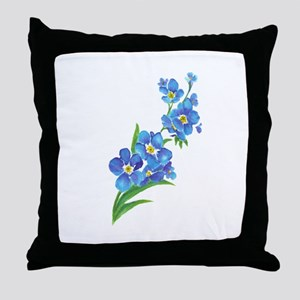Forget Me Not Flower Watercolor Painting Throw Pil