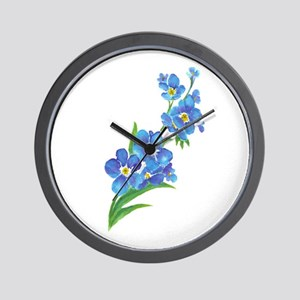 Forget Me Not Flower Watercolor Painting Wall Cloc