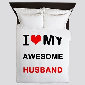 I Love My Awesome Husband Queen Duvet