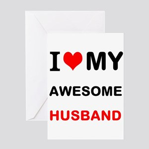 I Love My Awesome Husband Greeting Cards