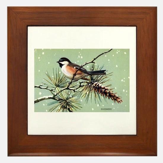 Chickadee Bird Framed Tile