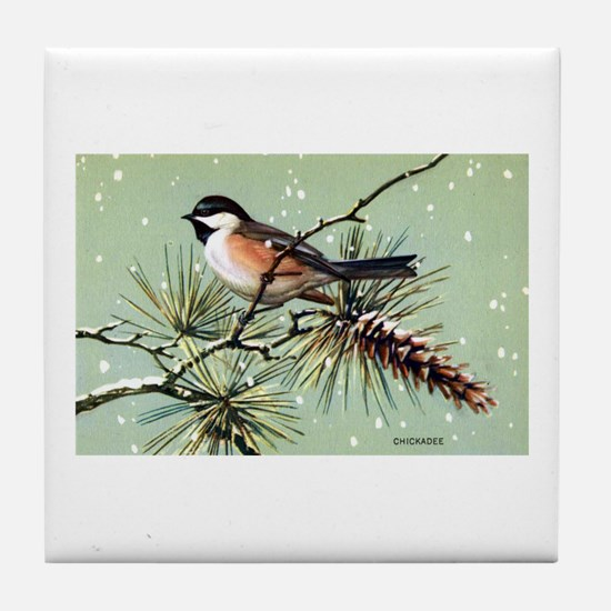 Chickadee Bird Tile Coaster